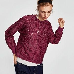 Zara Sweatshirt with Buckled Tabs Plum Purple S